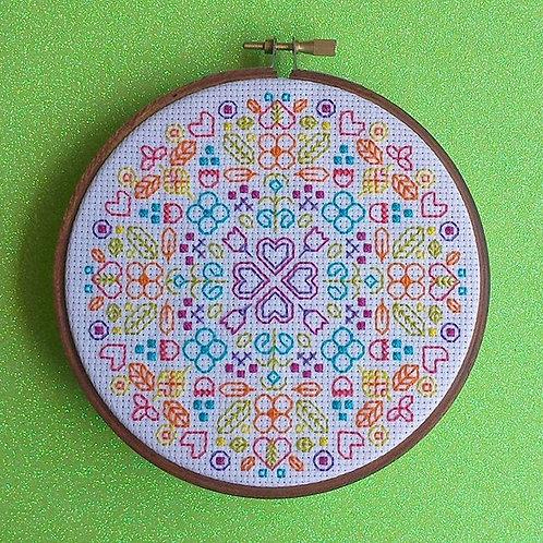 "Hearts & Flowers - Neon Rainbow on White - 12.5cm (5"")"