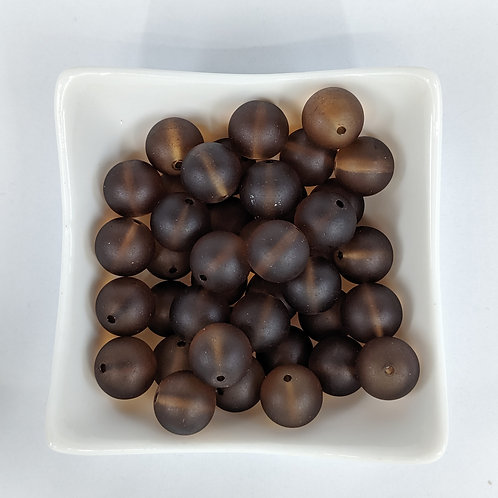 Frosted Brown Rounds - 25pcs