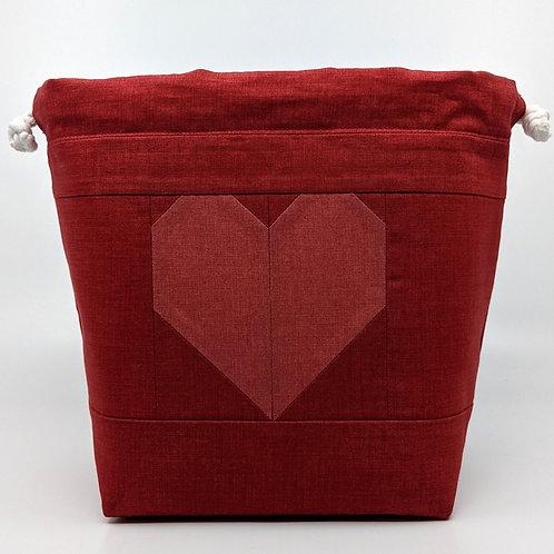 Classic Drawstring Pouch - Light Raspberry Heart on Dark Background
