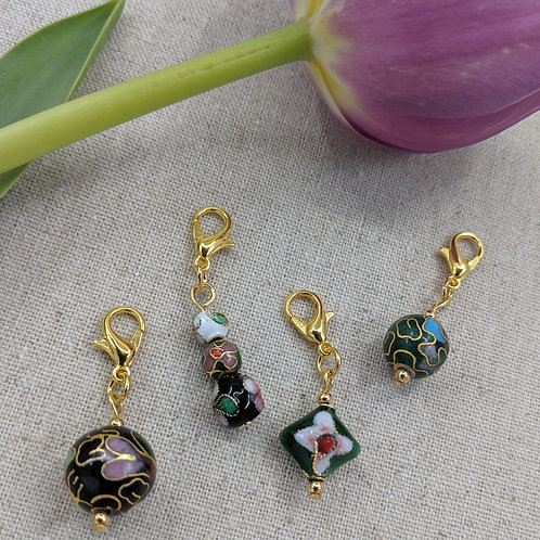 Charms/Progress Keepers - Black and Green Cloisonné Assortment