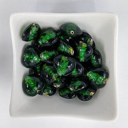 Green Foil Glass Hearts - 10pcs