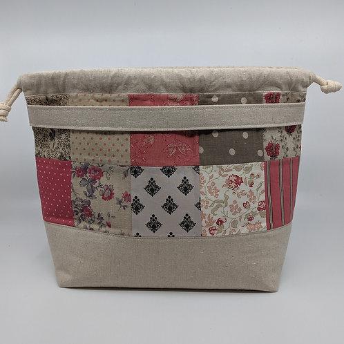 Handy Drawstring Bucket Bag - Pink Patchwork