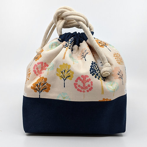 Classic Drawstring Pouch -  Transformation with Navy