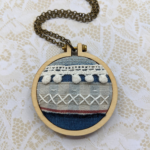 Fabric Collage Mini Hoop Necklace #2