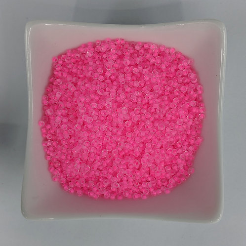 Seed Beads - #11 - Neon Pink Lined Clear - 50g