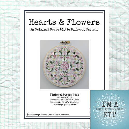 Hearts & Flowers - Spring Garden Colourway on White - DIY KIT