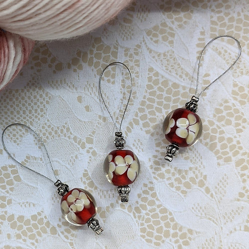 Red and Yellow Floral Stitch Markers - Set of 3
