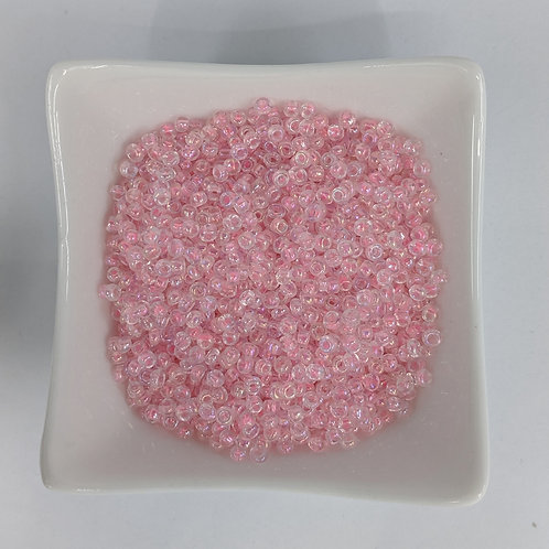 Seed Beads - #8 - Pale Pink Lined Clear - 50g