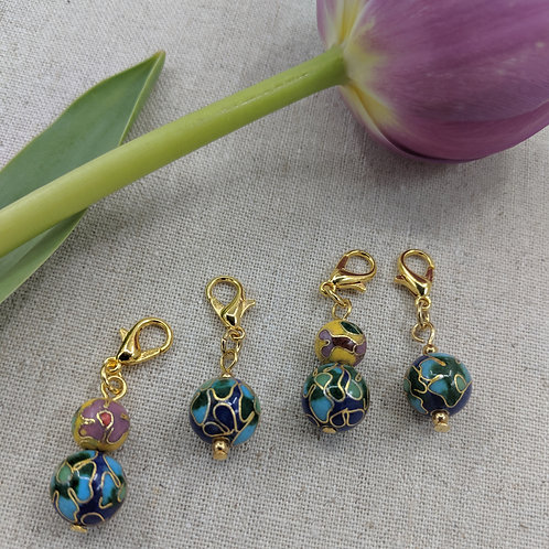 Charms/Progress Keepers - Blue and Yellow Cloisonné Assortment