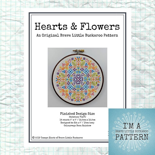 Hearts and Flowers - Neon Rainbow Colourway (On White - No Mini) DIY PDF Pattern
