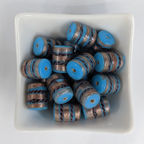 Blue Indian Glass Lampwork Tubes with Accents - 10pcs