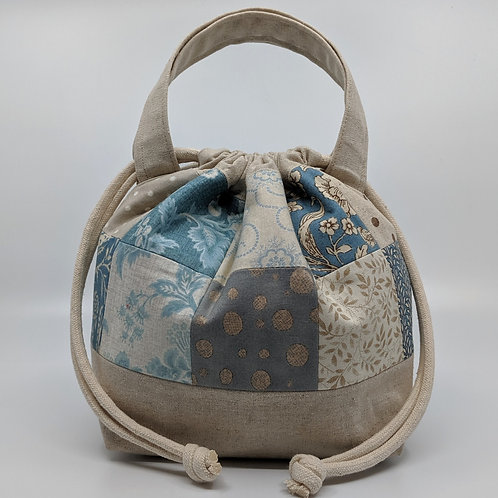 Handy Drawstring Pouch - Blue Patchwork