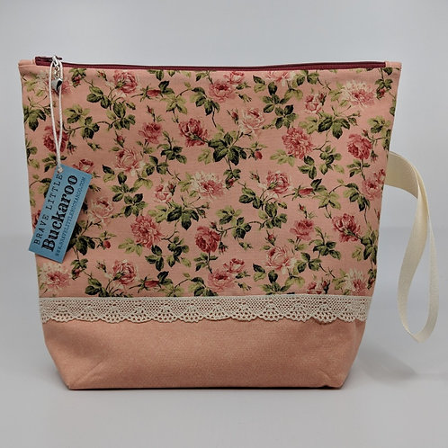 Project Bag - Pink Roses with Lace and Wrist Strap