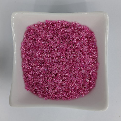 Seed Beads - #11 - Pink Lined Clear - 50g
