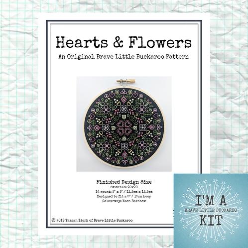 Hearts & Flowers - Spring Garden Colourway on Black - DIY KIT