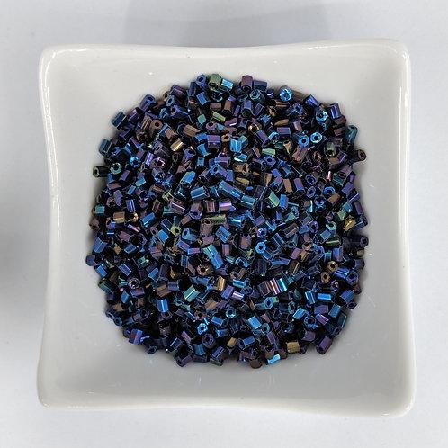 Bugle Beads - Hex Cut Dark Opaque Blue Iris - 2-3mm - 50g