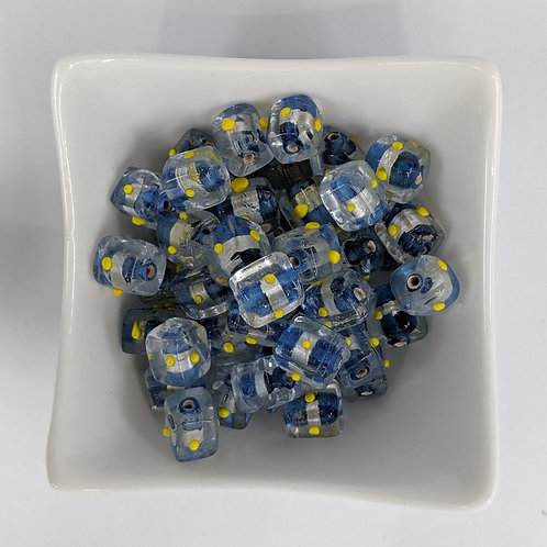 Blue Foil Cubes with Yellow Dots - 20pcs