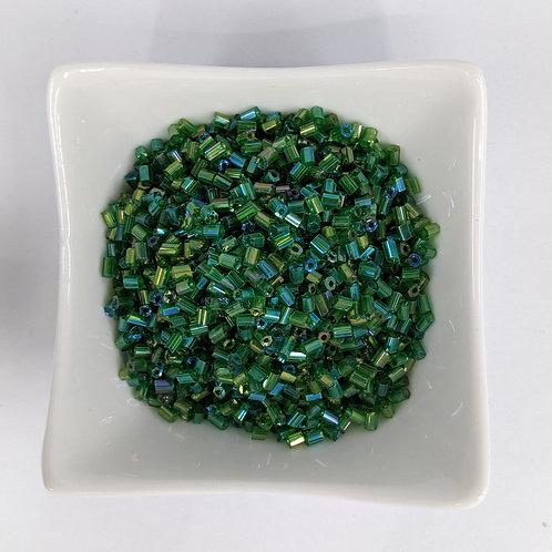 Bugle Beads - Green Iris Hex Cut - 3-4mm - 50g