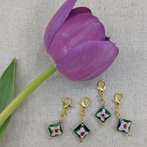 Charms/Progress Keepers - Green Cloisonné Diamonds