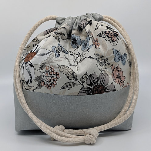 Classic Drawstring Pouch - White and Grey Floral with Silver