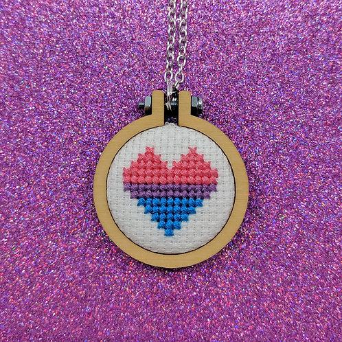 Pride Heart Flag Necklace - Bisexual Pride