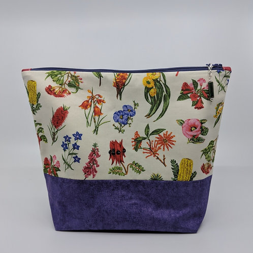 Project Bag - Wild Flowers with Purple Bottom