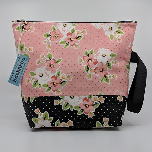 Project Bag -Spotty Floral Pink on Black with Wrist Strap