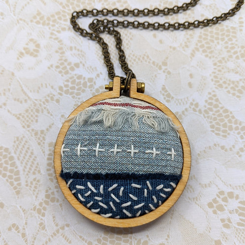 Fabric Collage Mini Hoop Necklace #4
