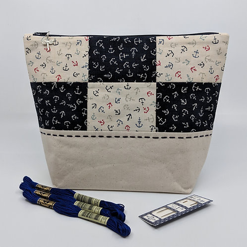 Project Bag - Red White and Blue Anchor Patchwork
