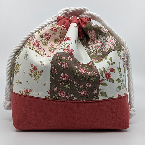 Classic Drawstring Pouch - Patchwork with Light Raspberry