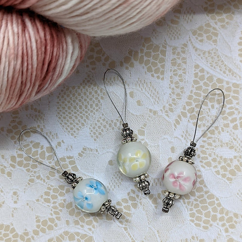 Pastel Floral Lampwork Stitch Markers - Set of 3