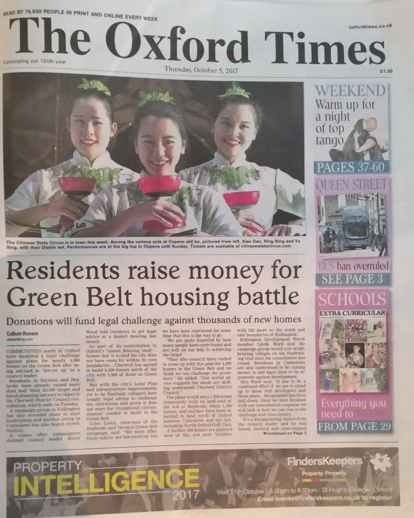 The Oxford Times (5 Oct 2017): Residents raise money for Green Belt housing battle