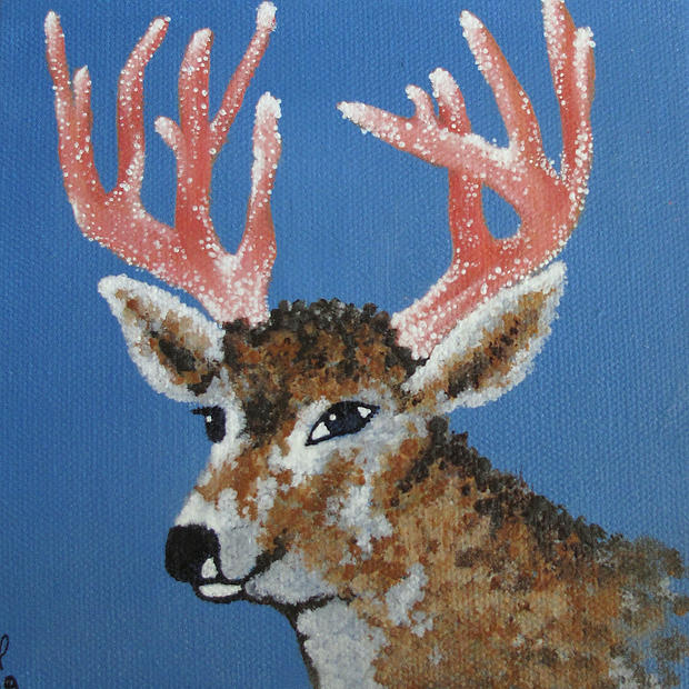 Coral Deer - Original Artwork 6x6""