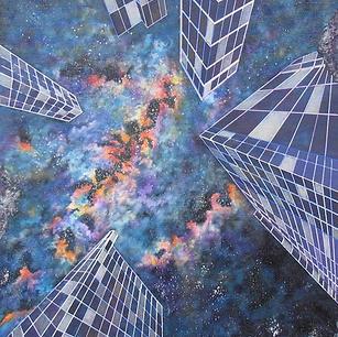 """City at Midnight - Original Artwork 48x24"""""""
