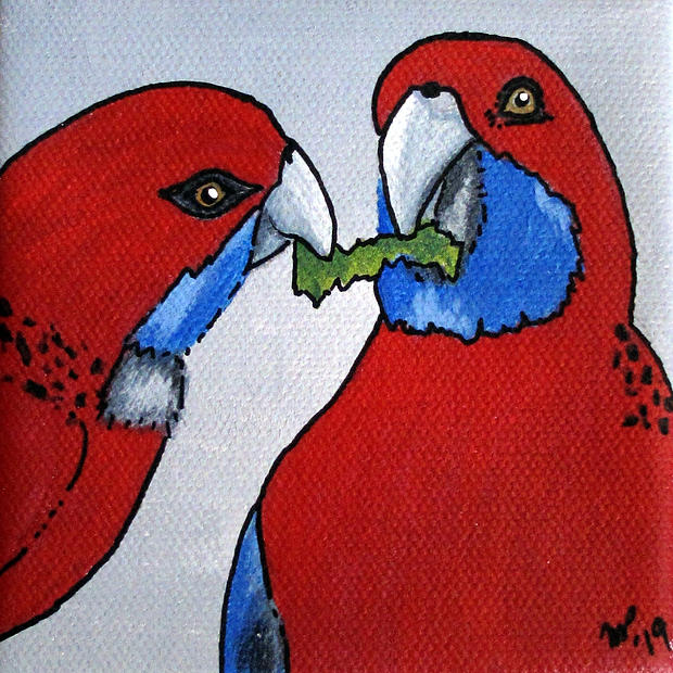 "Crimson Rosellas - Original Artwork 4x4"" SOLD"