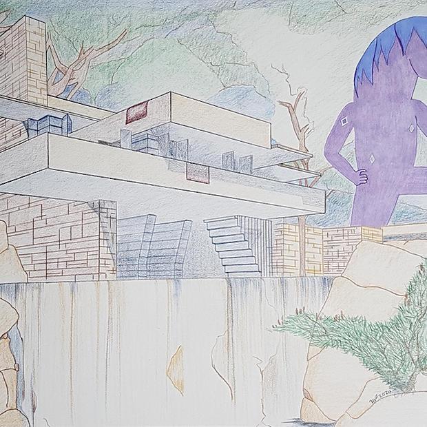 "Fallingwater Horse - Drawing 15x24"""