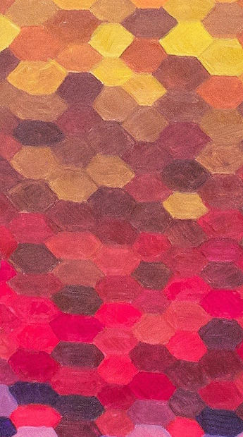Hexagons - Original Artwork 36x12""