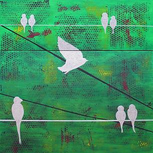"""Silver Birds - Original Artwork 36x36"""""""