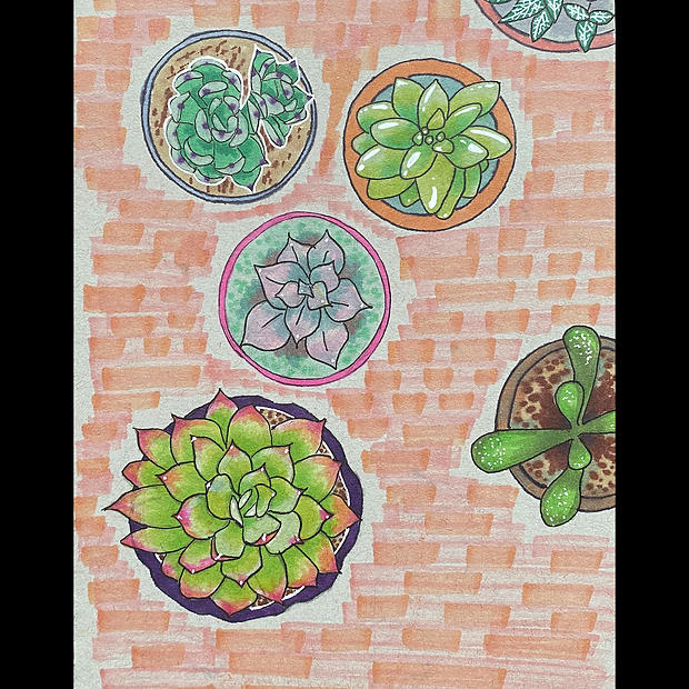 Succulent Table - Original Artwork - Print