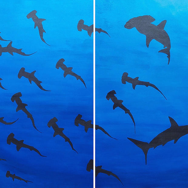 Sharks - Original Artwork 36x48""