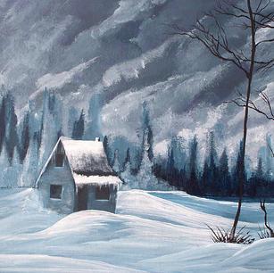 "Winter Cabin - 12x16"" SOLD"