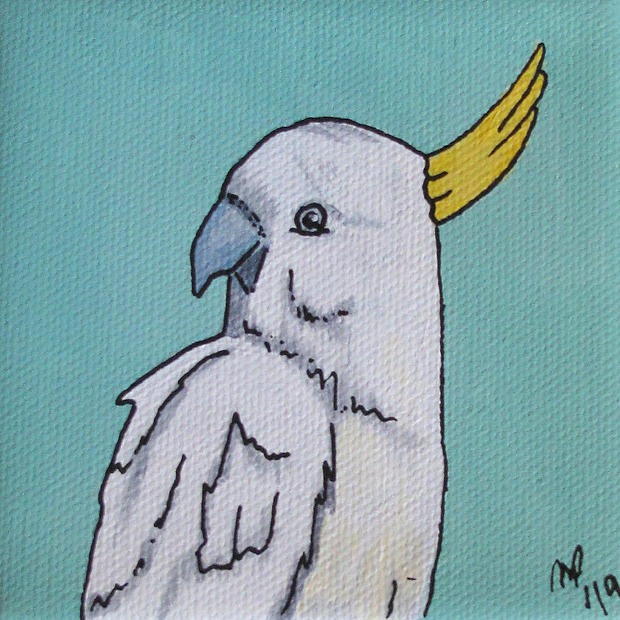 Cockatoo - Original Artwork 4x4""