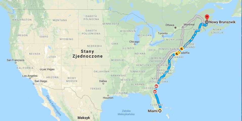 interstate-95 autostrada z Miami do Kanady przez wschodnie wybrzeże