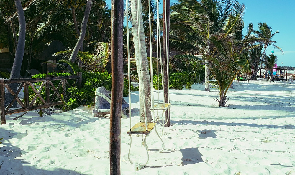 huśtawki i palmy na plaży przy morzu karaibskim