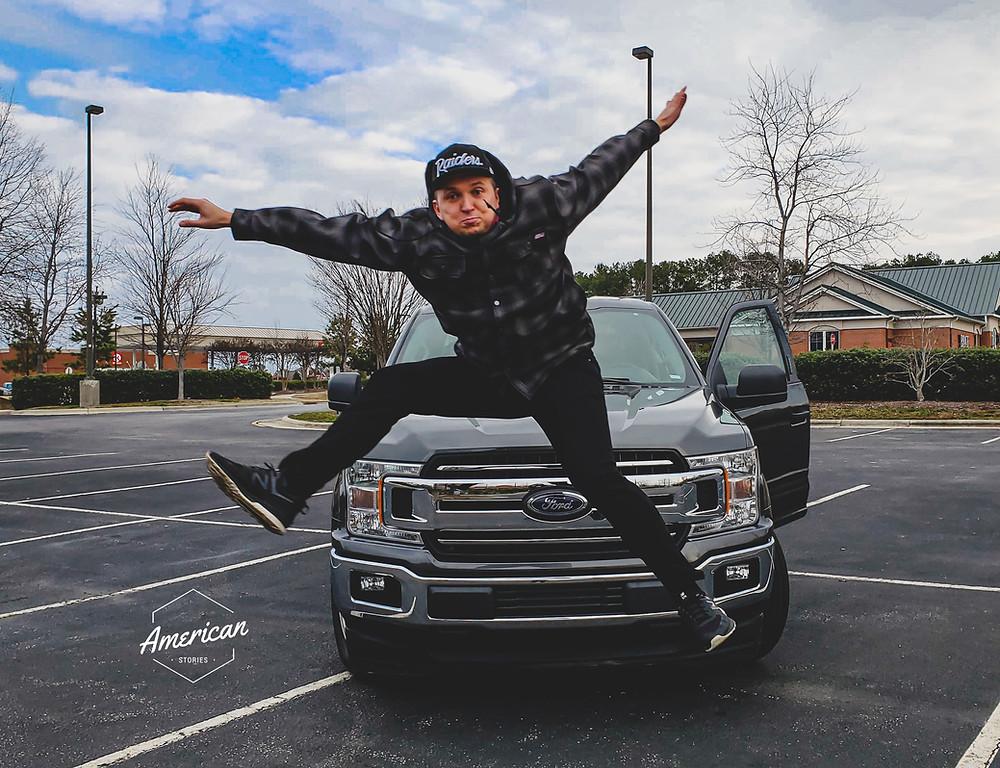 skok pickup truck chłopak ziomek mężczyzna