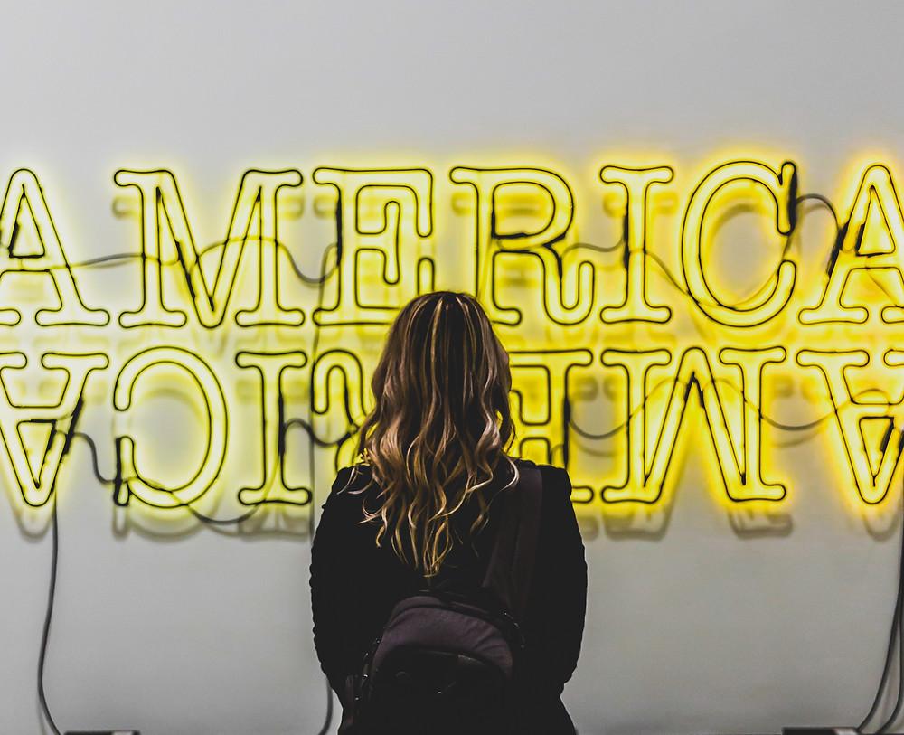 ameryka america  usa neon sign lampa kobieta