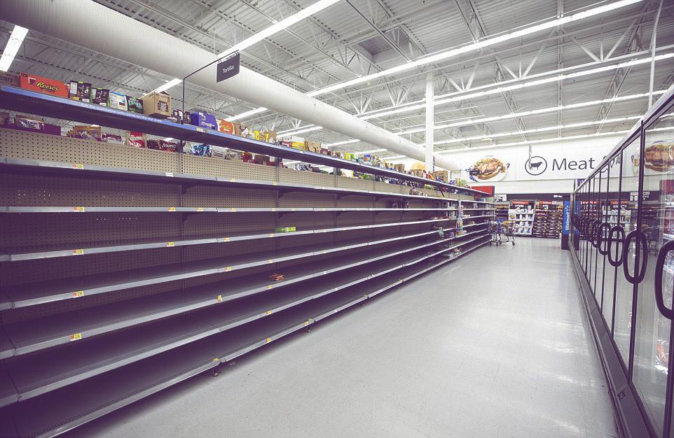 puste półki w sklepach w USA
