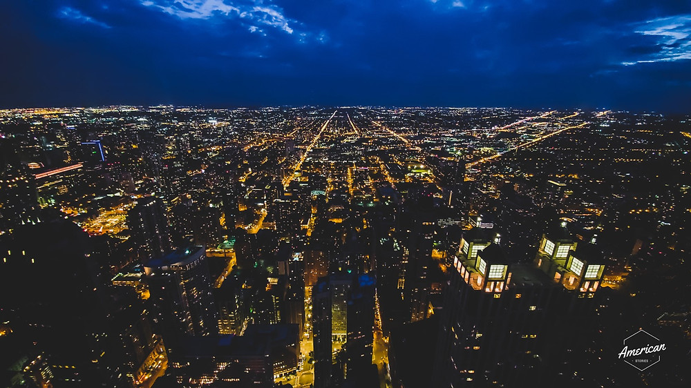 wieczorna panorama chicago miasto widoki horyzont