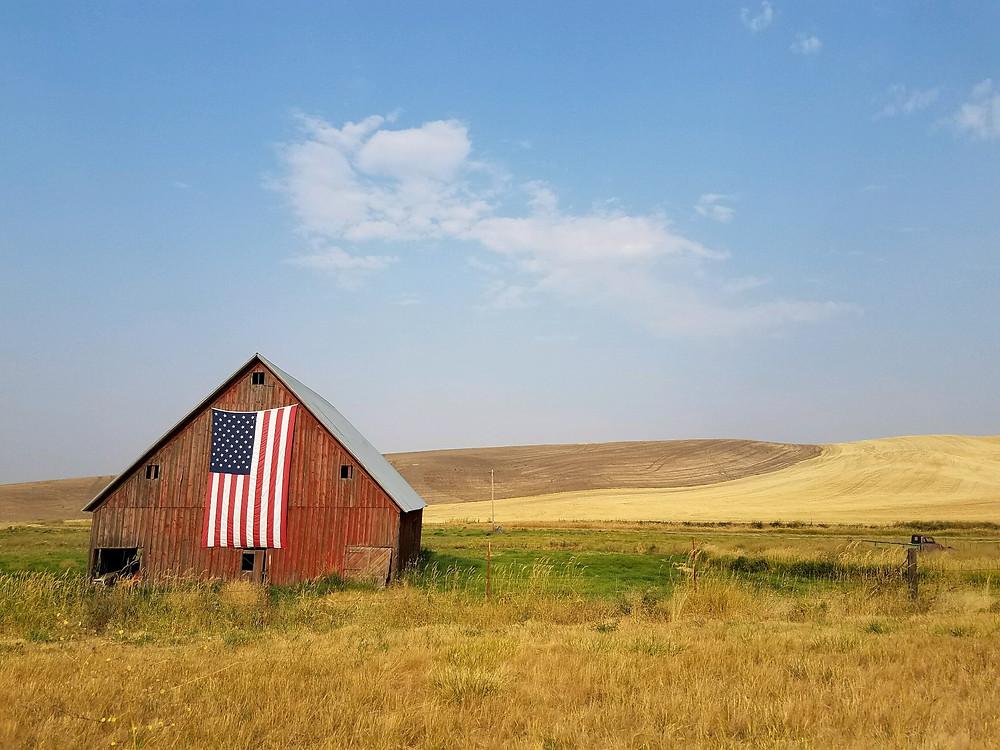 amerykański dom z amerykańską flagą