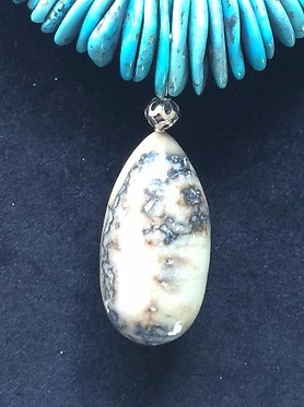 Fossil Walrus Ivory, Turquoise & Sterling Silver Necklace
